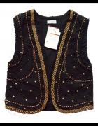 Czarna kamizelka złote ornamenty Pull&Bear...