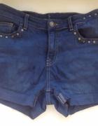 Granatowe spodenki szorty XS S M 34 36 38 jeansowe z ćwiekami n...