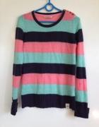 House sweater sweltered paski pasiak brzoskwiniowy morski czarn...