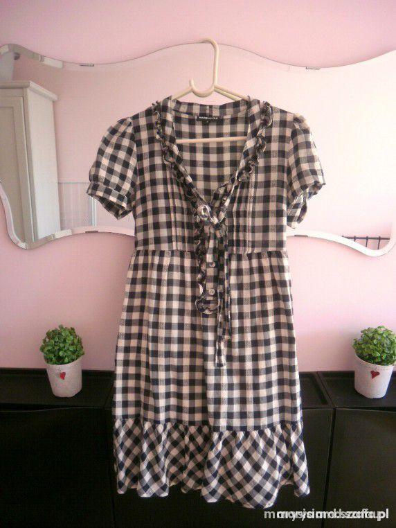Warehouse sukienka w kratkę kokarda...
