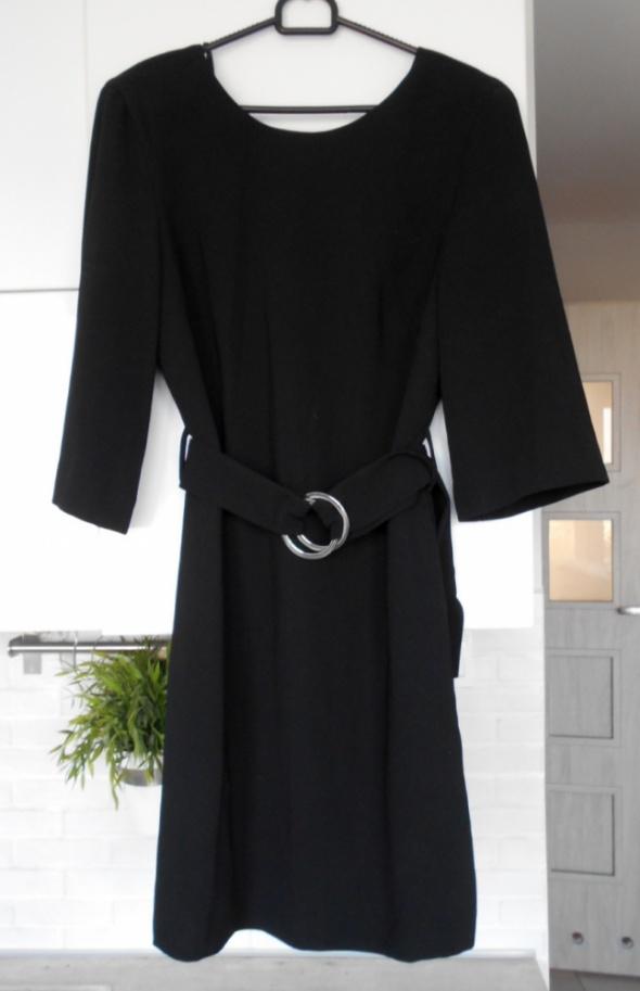 Mango nowa czarna sukienka z paskiem klamra minimalizm klasyka...