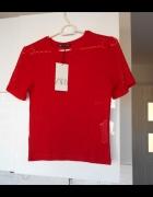 Zara nowa dzianinowa koszulka top czerwony...
