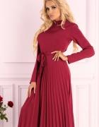 Efektowna sukienka plsowana bordowa SM L XL...