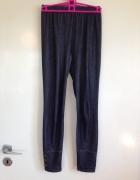 Legginsy jeansowe udające jeans z guzikami na nogawce ciemnogra...