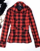 Czerwono czarny płaszcz h&m xxs 32 xs 34...