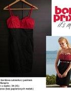 Czarno bordowa sukienka Bon Prix z paskiem XS 34...