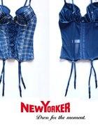 Niebieski gorset w kratę New Yorker 75B xs 34 s 36...