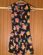 Sukienka kwiaty łączka czarna żółte czerwone XS S...