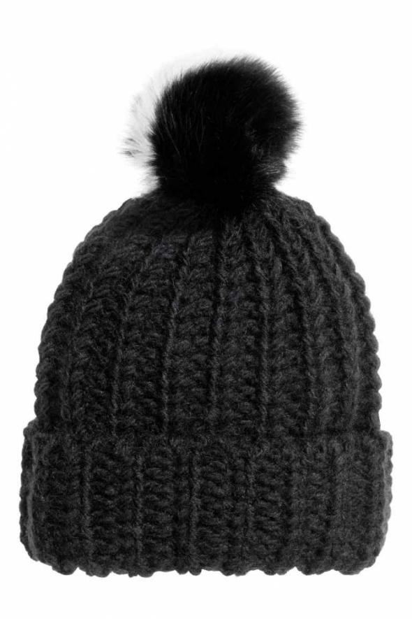 Nakrycia głowy czarna wełniana czapka z pomponem h&m 80proc wełna