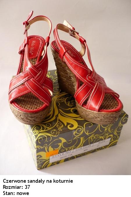 Koturny Czerwone koturny sandały wedges 38 39 letnie buty