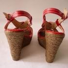 Czerwone koturny sandały wedges 38 39 letnie buty