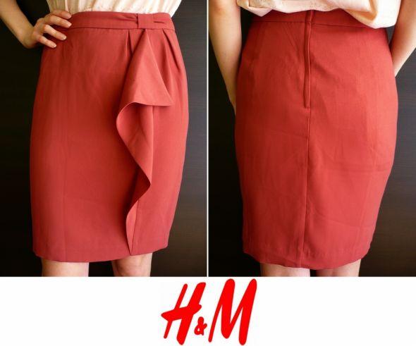 Spódnice Bordowa spódnica z falbaną na podszewce H&m 44 xxl