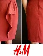 Bordowa spódnica z falbaną na podszewce H&m 44 xxl...