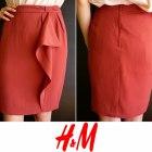 Bordowa spódnica z falbaną na podszewce H&m 44 xxl