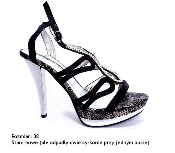 Szpilki sandały szpilki wesele cyrkonie sylwester 38 39
