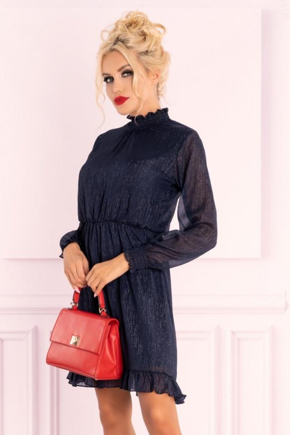 Suknie i sukienki Błękitna sukienka z falnanką stójka Collya Dark Blue