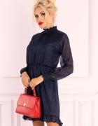 Błękitna sukienka z falnanką stójka Collya Dark Blue...