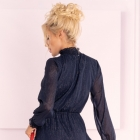 Błękitna sukienka z falnanką stójka Collya Dark Blue
