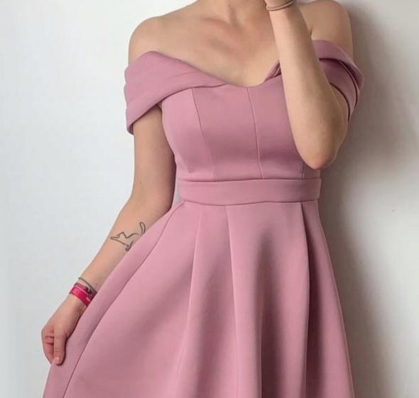 Asos Sukienka Pianka Pudrowa Pudrowy Róż Bardot Hiszpanka Opada...