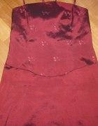 bordowa suknia gorsetowa