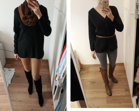 Esprit 100 wełna sweter z dekoltem szary grafit gruby ciepły 38...