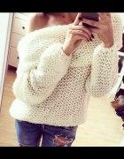 Przepiękny DZIERGANY sweter OVERSIZE