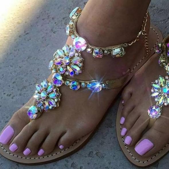 Przepiękne sandałki kryształki złote rozmiary