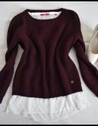 Burgundowy sweter z białą bluzką mgiełką 2w1 rozmiar 38 M...