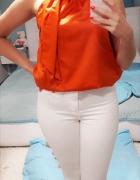 Śliczna elegancka satynowa pomarańczowa ceglasta bluzka Mango S...