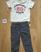 Nowy komplet chłopięcy biała bluzka z krótkim rękawem i bojówki...