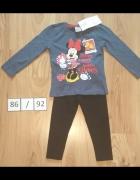 Bluza z dlugim rękawem Myszka Minni Mouse Disney czarne getry 8...