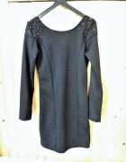 czarna sukienka s 36 kolce złote...