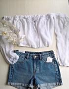 Biała bluzka crop top hiszpanka rozm S ML...