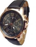 zegarek czarny nowy piekny na skórzanym pasku...