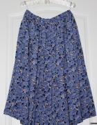 spódnica plisowana midi modna długa do łydki niebieska w kwiaty...