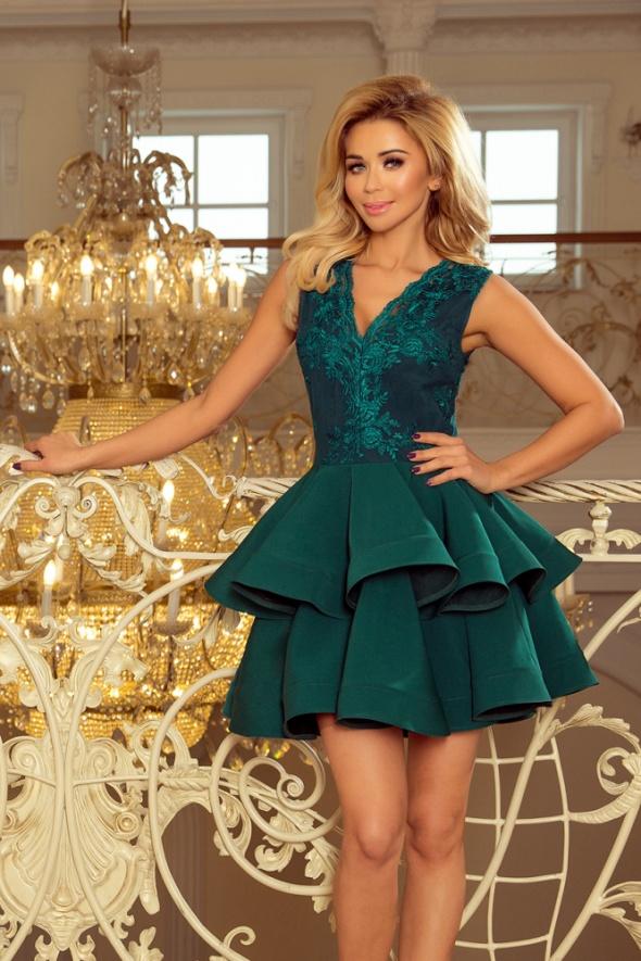 CHARLOTTE sukienka z koronkowym dekoltem zielona