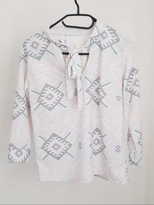 bluzka geometryczne wzory XS S pastelowa NOWA
