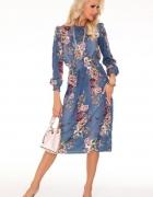 Klasyczna sukienka w kwiatowy wzór dł rękaw S M L...