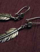 Navajo kolczyki piórka srebro 925