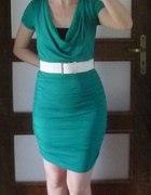 BODY FLIRT zielona sukienka z paskiem 34...