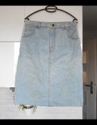 vintage retro jeansowa spódnica midi jeans denim...