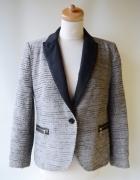 Marynarka Zara Basic L 40 Elegancka Zip Srebrna Nitka...