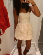 Sukienka H&M Garden Róże Gorsetowa Ecru...