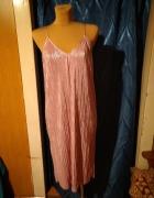 Różowa błyszcząca sukienka Srebrna nitka Rozmiar 40...
