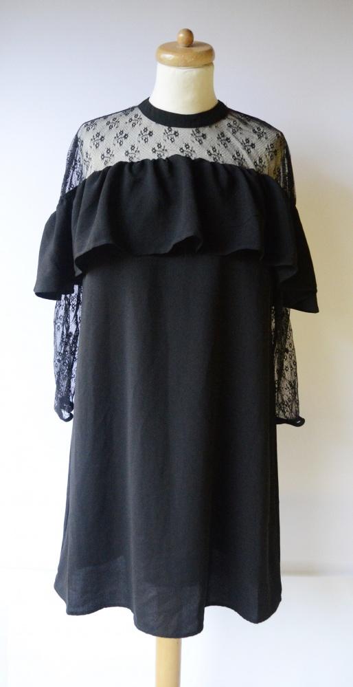 Sukienka Czarna Falbanka Reserved L 40 Koronka Elegancka...