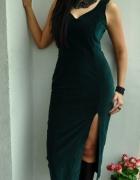 szmaragdowa welurowa sukienka...