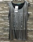 Nowa srebrna błyszcząca bluzka koszulka bokserka...