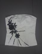 Biały gorset z czarnymi kwiatamy cekiny S...