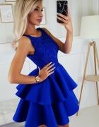 Piękna piankowa sukienka falbany XS SM L kolory chabrowa...