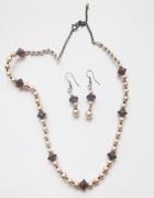 NOWY komplet biżuterii pereł perełki korale 2 części